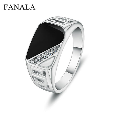 FANALA Rings Men Fashion Jewelry 1PC Men Rhinestone Stone Rings Hollow Out Decor Punk Style Round Ring Hot Men Jewelry
