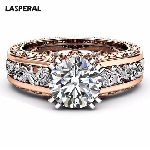 LASPERAL New Women Ring Champagne Round Wedding Rings For Women Cubic Zircon Rings Female Wedding Engagement Crystal Jewelry