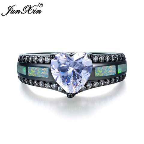 JUNXIN Charm Multicolor Heart Zircon Blue/White/Pink Fire Opal Rings For Women Vintage Fashion Black Gold Filled Birthstone Ring
