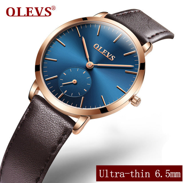 Ladies watches 2017 Watchband leather Women's watch Clock luxury dress Rose gold Stainless steel mesh bracelet OLEVS Wrist watch