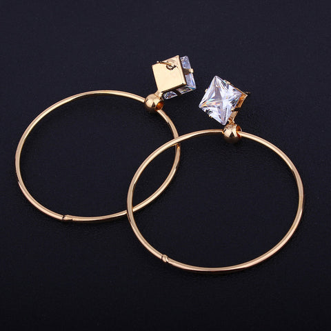 2018 Top Popular Earrings With Cubic Zirconia Circle Earrings Simple Earrings Big Circle Gold Color Hoop Earrings For Women
