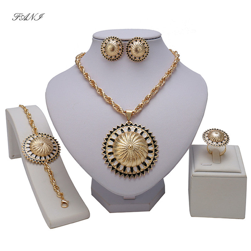 Fani Bridal Gift  Fashion Nigerian Wedding African Beads Jewelry Set women customer Dubai Gold Color Jewelry Set Brand Design