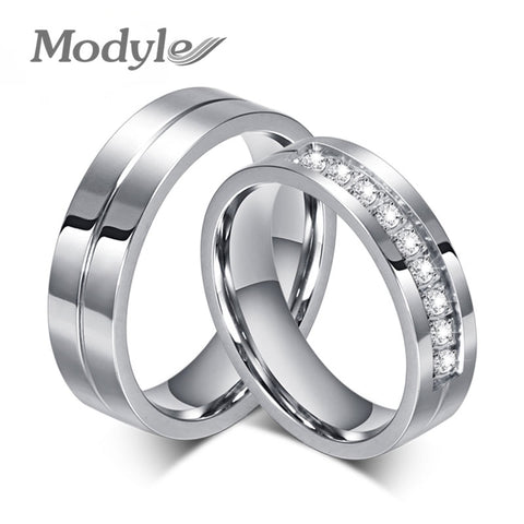 Modyle 2017 New CZ Wedding Rings for Women Men Silver-Color Couple Engagement Ring Jewelry