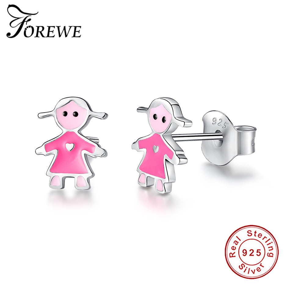 FOREWE Authentic 925 Sterling Silver Popular Girl Figure Stud Earrings With Pink Enamel for Women Girls Jewelry Christmas Gift