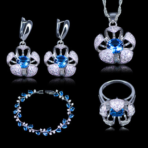L&B Silver color New Design 3D Flower Sky Blue Austrian Crystal White Zirconia 925 Stamp Jewelry Sets Bracelets Jewelry Sets