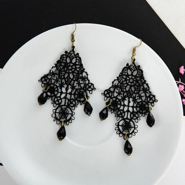 Black Lace Drops Retro Earrings European And American Aliexpress Hot Models Exaggerated Earrings Drop Earrings For Women