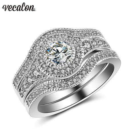 Vecalon Fashion Vintage Engagement Wedding band Ring Set for Women 2ct 5A Zircon cz 10KT White Gold Filled Party Finger ring