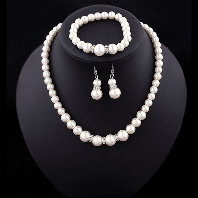 Fashion Necklace earrings Imitation Pearl Silver Plated Clear Crystal Top Elegant Party Gift Fashion Costume Pearl Jewelry Sets
