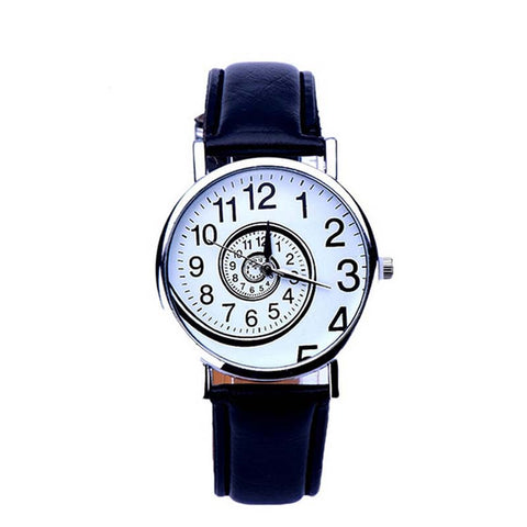 Fashion Women Ladies Watch Swirl Pattern PU Leather Strap Analog Quartz Wristwatch Gifts LL@17