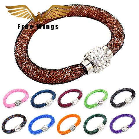 Fashion Women Jewelry Magnetic Clasp Multilayer Leather Bracelets Bangles HH00025 B3-45D