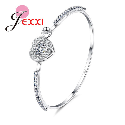 JEXXI Promotion Pretty Girls Love Heart Bracelet AAA+ Austrian Crystal 925 Sterling Silver Women Wedding Bangles Accessories