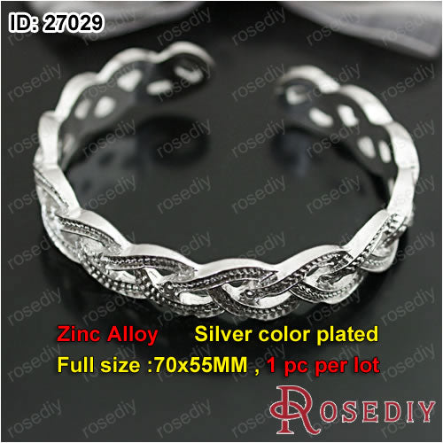 (27030)Jewelry Bracelet & Bangles Making Alloy Antique Bronze 70*55MM Textured bracelet 1 Piece