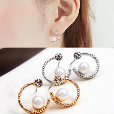 Pearl Earring- Hot Sale New Fashion Lady Special Half Moon Shape Crystal Pearl Earring #1796184