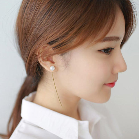 Pearl Earring- New Fashion Lady Long Silver Gold Chain Pearl Stud Earring #1796136
