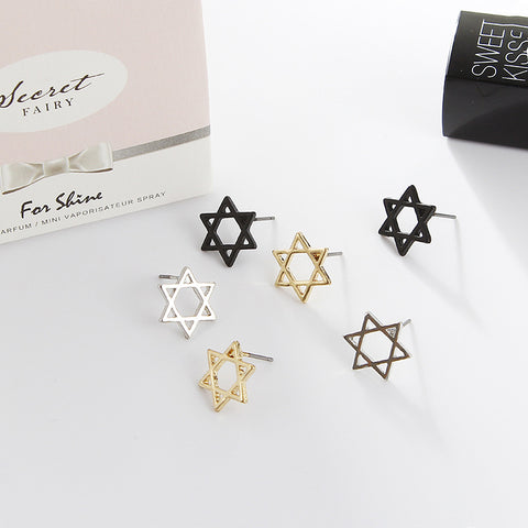2018 New Women's Earrings Fashion Minimalist Personality Star Black Metal Texture Hollow Hexagram Ladies Jewelry # 2119163