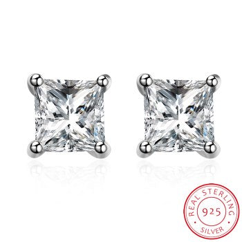 SH-E0067 Fashion 100% Real 925 Sterling Silver 5mm Square Cubic Zirconia Luxury Ladies Stud Earrings Jewelry Gift For Women