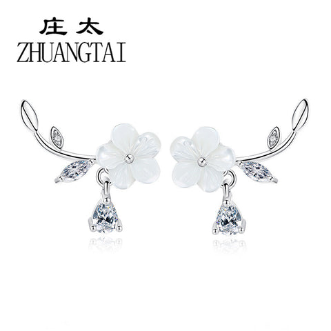 ZHUANGTAI Jewelry Fashion Elegant Ladies Stud Earrings Natural Seashells Hand-Carved Korean Flowers Earrings For Women Brincos