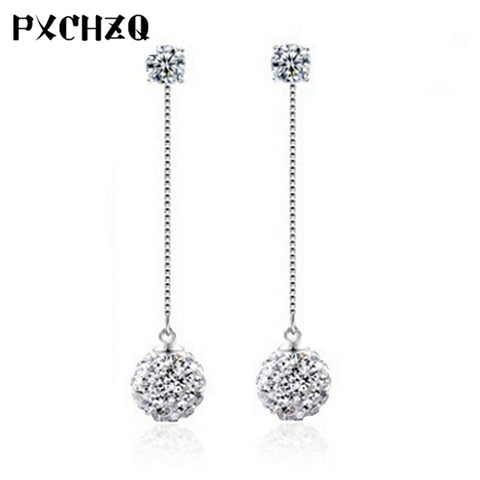 The new lady beautiful earrings simple fashion popular silver jewelry Shambhala crystal earrings long lovely temperament