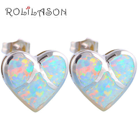 bijoux women Top quality White Fire Opal Silver Stamped Heart Stud Earrings Fashion Jewelry Opal Jewelry OE357