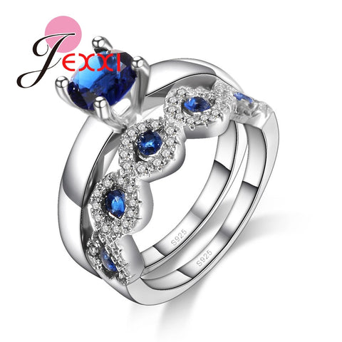 JEXXI Unisex Blue Cubic Zirconia Wedding Rings Set 2 PCS Women/Girls Fashion 925 Sterling Silver Engagement Ring