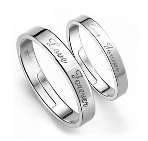 Hot Sale Silver-color Engagement Rings Romantic Wedding Ring Set for Women Men Couple Jewelry Letters Caved Free Shipping