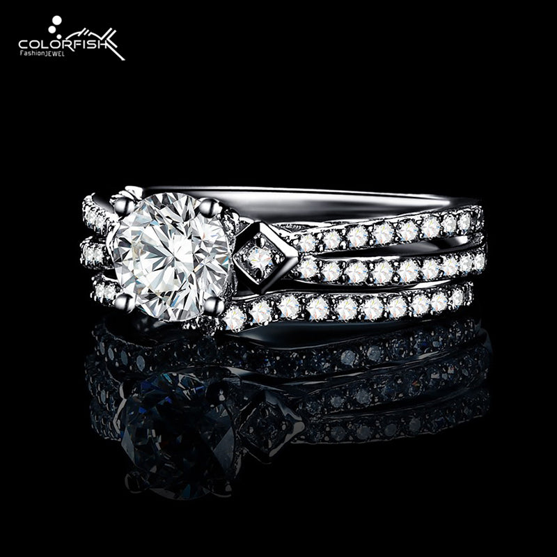 COLORFISH 100% 925 Sterling Silver Women Fashionable Ring Set 1.0 Carat Cubic Zirconia 2-pc Wedding Engagement Ring Set Stamped