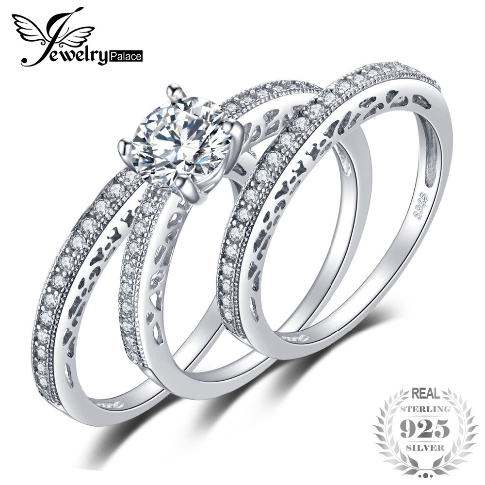 JewelryPalace Vintage 1.5ct 3 Pcs Anniversary Wedding Band Engagement Ring Bridal Sets Pure 925 Sterling Silver