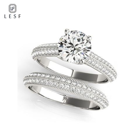 LESF Real 925 Sterling Silver Jewelry Wedding Rings Set For Women Brilliant Zircon Engagement Ring Include transportation