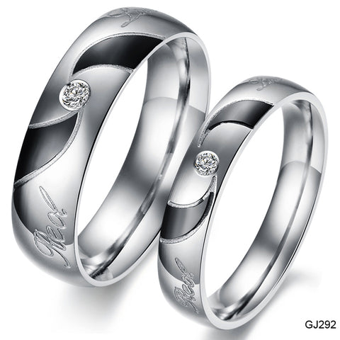 Fashion Jewelry HOT Sale Stainless Steel Rings Silver Black Vortex Circle Couple Rings Wedding Rings Engagement Rings