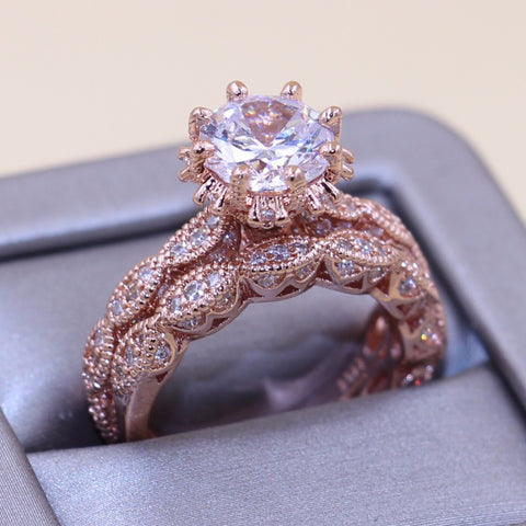 Size5-10 Enternity Couple Rings Luxury Jewelry 925 Sterling Silver&Rose Gold Round Cut 5A Zirconia Party Wedding Bridal Ring Set