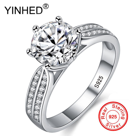 YINHED Luxury Solid 925 Sterling Silver Wedding Rings Set 2 Carat Sona Diamant Engagement Rings Fashion Jewelry for Women ZPR006