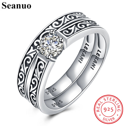 Seanuo 2 Ring/Set 100% Sterling Silver Indian Totem Cubic Zirconia Ring For Men Women Fashion 925 Silver Female Engagement Rings