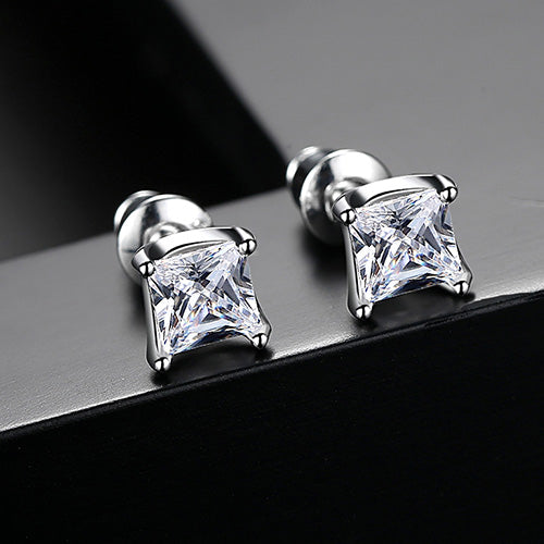 LUOTEEMI Trendy Classic Silver Color Paved AAA Square Cubic Zirconia Stud Earrings for Women Men Party Fashion Jewelry Earrings