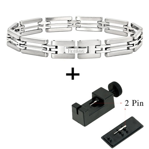 Hottime New Fashion Stainless Steel Bracelet Bangle Charm Silver Bracelets Bangles For Men Jewelry 10163