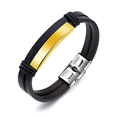 Modyle New Classic 100% Genuine Leather Handmade Three Color Stainless Steel Bracelet For Men