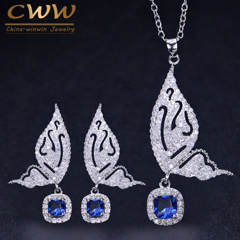 CWWZircons Brand Fashion Butterfly Shape Ladies Jewelry 925 Sterling Silver CZ Blue Crystal Earrings And Necklace Sets T158