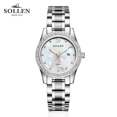 Relogios Femininos SOLLEN female brand watches women stainless steel strip table calendar quartz watch luminous fine packaging