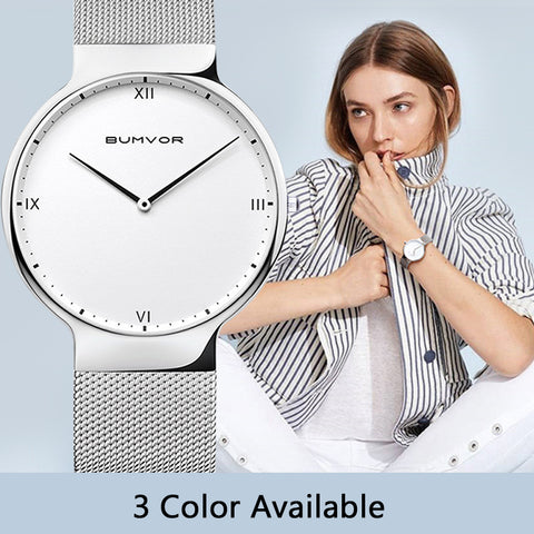 BUMVOR 2018 Ladies Watch Women Sliver and Black watchband Minimalist Steel Mesh Simple Watch Women Waterproof  Quartz Watch