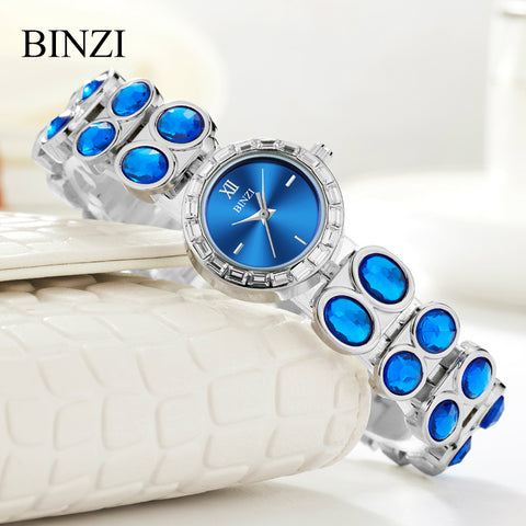 Watch Women BINZI Brand Luxury Fashion Crystal Rhinestone Bracelet Women Watches Dress Watches Ladies Quartz Wristwatches 2018