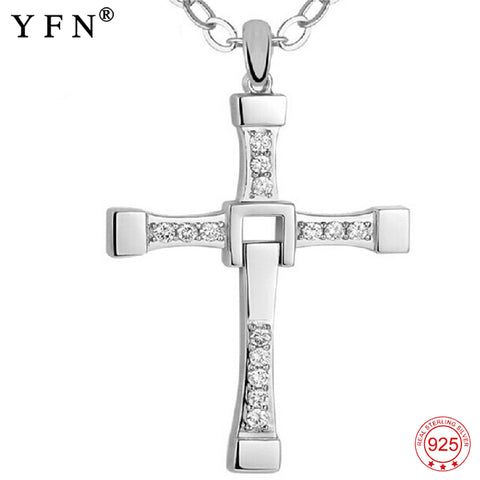 925 Sterling Silver Men Cross Necklaces Fashion Jewelry Cubic Zirconia Fast and Furious Movie Jewelry Pure For Women GNX0002