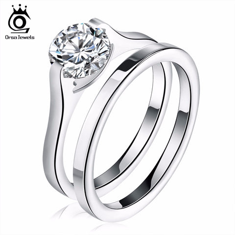 ORSA JEWELS Romantic Bridal Sets Zirconia Wedding Engagement Rings for Women Stainless Steel Female Finger Jewelry GTR19