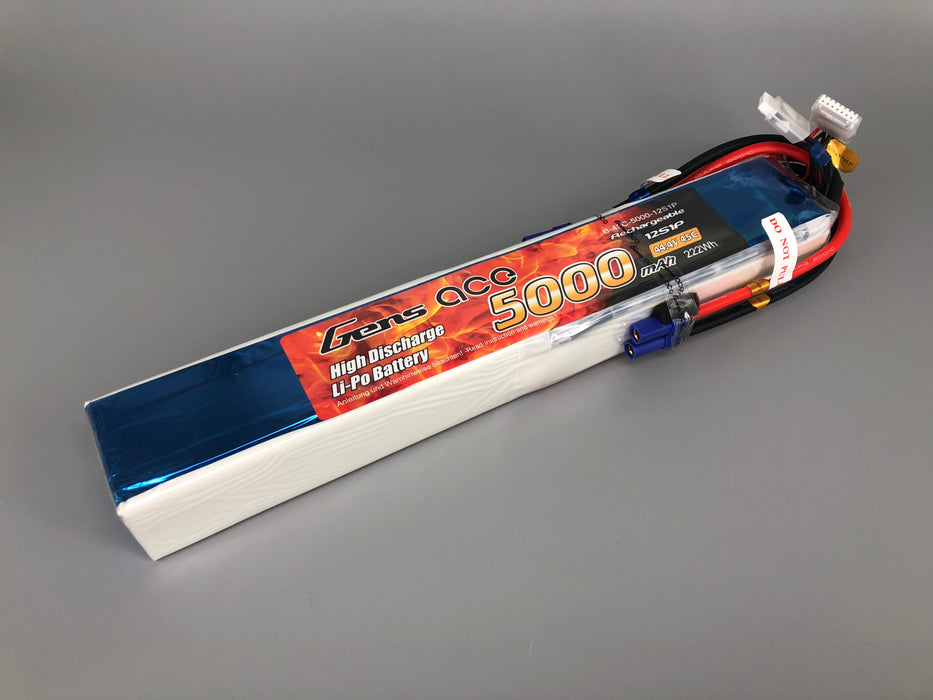 Gens ace 5000mAh 44.4V 45C 12S1P Lipo Battery with EC5 Plug