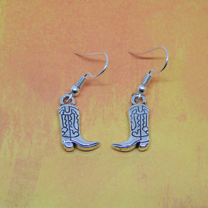 COWGIRL/COWBOY BOOTS Silver Charm Earrings