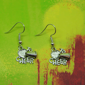 I LOVE TO CHEER Silver Charm Earrings