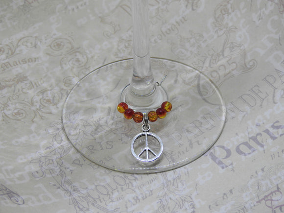 PEACE SIGN Beaded Wine Charm