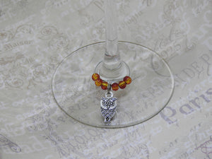 OWL Beaded Wine Charm