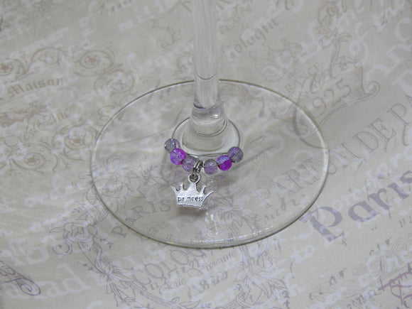 PRINCESS CROWN Beaded Wine Charm/Drink Identifier