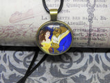BEAUTY AND THE BEAST Glass Cabochon Antique Bronze Pendant Novelty Necklace