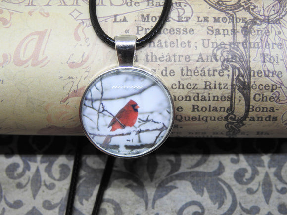WINTER CARDINAL Glass Cabochon Silver Pendant Necklace