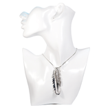 Silver Rhinestone Feather Necklace - cheeky-trendy